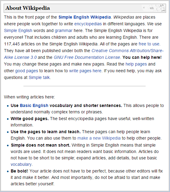 About Simple English Wikipedia