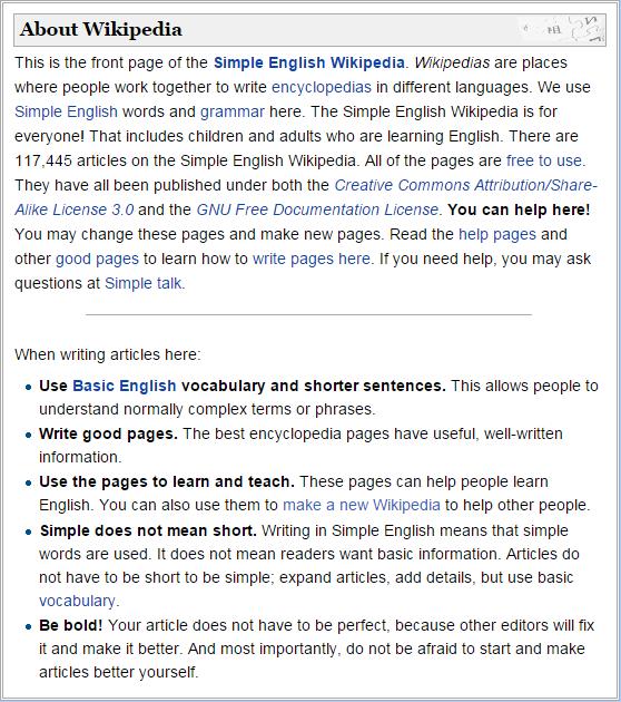 About Simple English Wikipedia