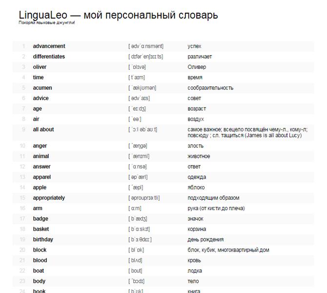 экспорт слов из лингвалео