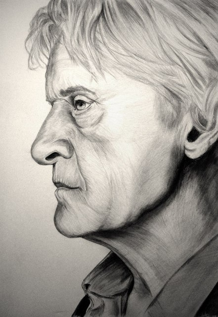 Портрет Рутгера Хауэра карандашом